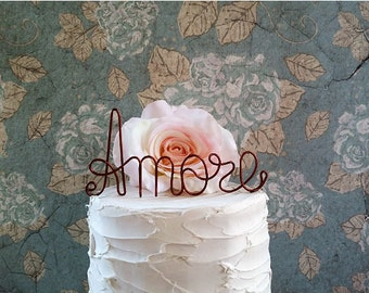 AMORE Wedding Cake Topper, Vintage Cake Decoration, Anniversary Cake Decoration, Bridal Shower, Engagement Party, Rustic Wedding Centerpiece