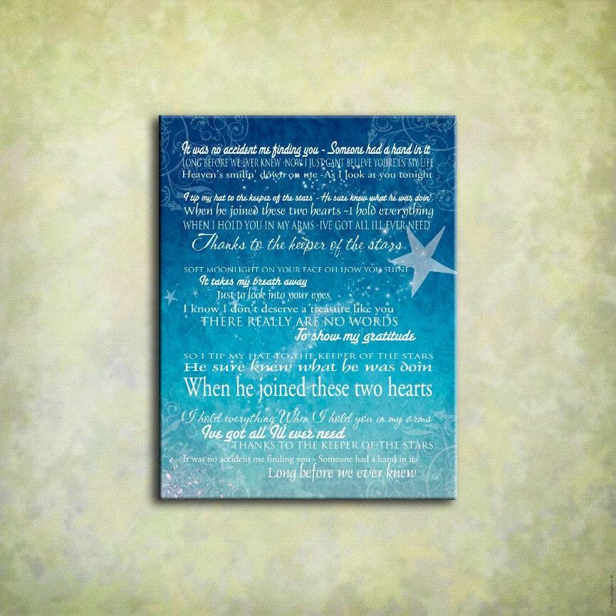 Keeper of the Stars Tracy Byrd Lyrics Love Ballad Word Art