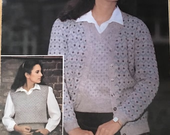 LadiesTwin Set Knitting Pattern, Lister-Lee Vintage Knitting Pattern, Zig Zag Cardigan, Ladies Zig Zag Sweater, Ladies Jumper, No. K1548