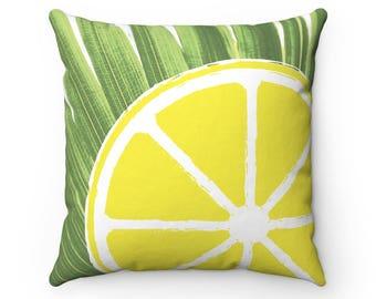 Yellow Lemon Pillow Cover | Yellow Throw Pillow | Fruit Pillow | Throw Pillow Cover | Decorative Pillow Cover