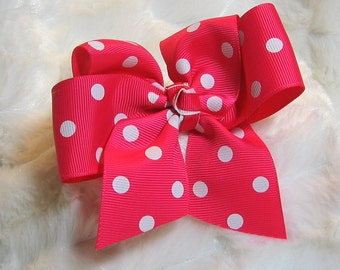 Deep Pink with White Polka Dot 4 inch Girls Hair Bow