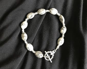 Gray Jasper bracelet (approx. 9 inches with clasps)