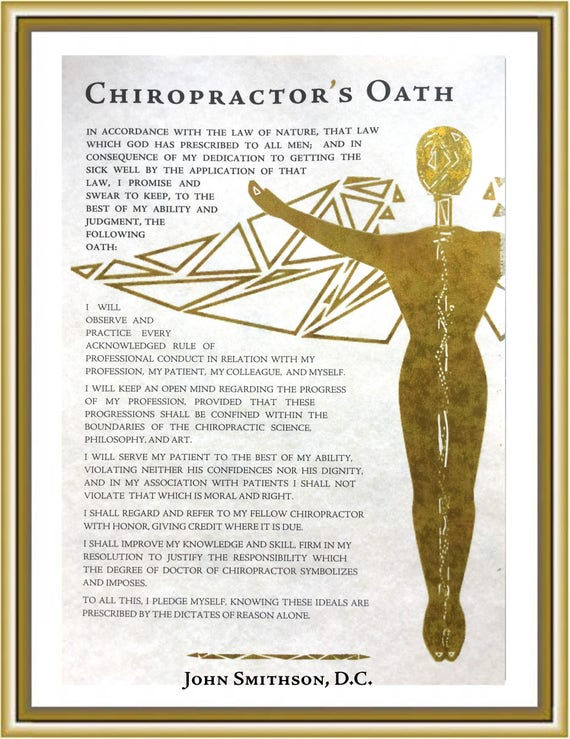 Chiropractors Oath Personalized Chiropractic Gift For