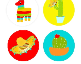 """PRINTABLE Fiesta 2"""" Rounds - #DIY #Printable Instant #Download (for print at home: stickers, gift tags or cupcake toppers)"""