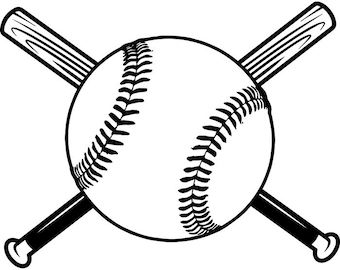 Baseball Logo #14 Tournament Ball Wood Bat League Equipment School Team Game Field Sports Logo .SVG .EPS .PNG Vector Cricut Cut Cutting File