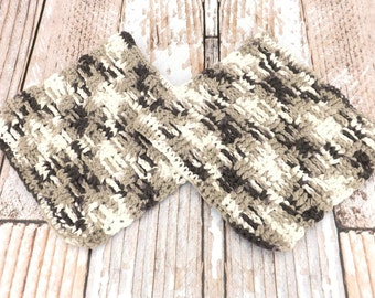 Brown and White Cotton Dishcloths - 100% cotton dishcloth - textured cotton washcloth - brown and white dishrag - housewarming gift