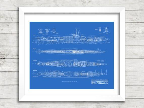 U-Boot-Bauplan Marinemalerei druckbare Blueprint Blaupause