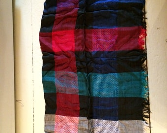 Scarf,fringed,plaid, bright, generous,woven