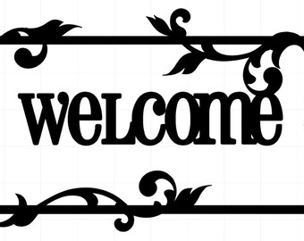 "Vinyl ""Welcome"" Front Door Decal with Vines and Leaves - Wall Art - 5.5"" x 12"""