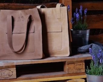 Brown leather tote bag - leather tote - shoulder bag - brown leather tote - handmade tote bag - shopping bag - classical tote bag
