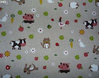 C340 coupon 34x50cm farm animals kids fabric