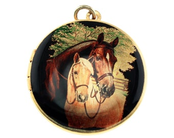 Photo Locket, Image Locket, Art Locket, Picture Locket, Brass Locket - Kentucky Derby Love