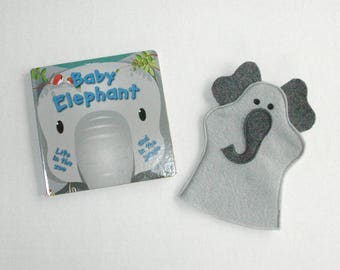 Elephant Puppet and Book Set - Felt Hand Puppet - Party Favor