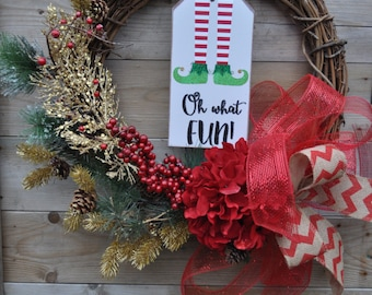 Oh What Fun! Christmas wreath