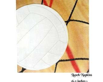 volleyball napkins, sports graduation party decorations, 16CT, 6.5 inches, players, net, paper tableware, volleyballs, team sports, spike