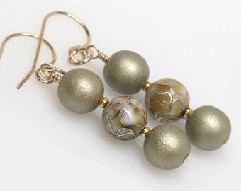 Gold Sage Cloisonne Earrings, Elegant, Dangle, Cloisonne Jewelry, Artisan, Elegant