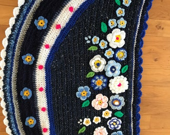 Crocheted Shawl polleviewrap flower Scarf Bohemian Ibizastyle