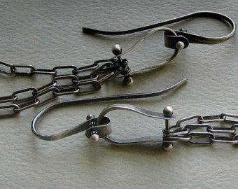 Miller Earrings: Oxidized Sterling Silver Riveted Chain Modern Industrial Dangles