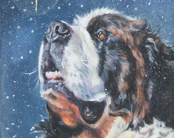 st Saint Bernard CANVAS print of LA Shepard painting 8x8 dog art xmas star