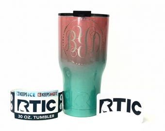 Monogrammed RTIC | Ombre Powder Coated 30 oz RTIC Tumbler cup |  Free Shipping