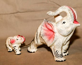 Vintage Rare Atlas Porcelain Mama with Baby Elephants Figurines, Hand Painted, Made In Japan