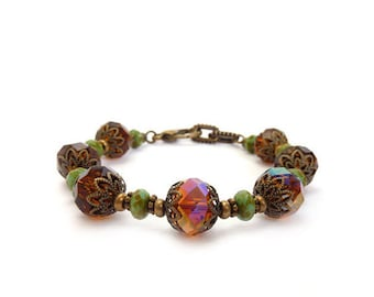 Amber Brown Bracelet - Faceted Crystal - Topaz - Turquoise Picasso Glass - Retro Victorian Style - Gift for Her - Free Shipping