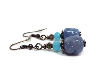 Blue Earrings, Mint Blue, Perwinkle Blue, Antiqued Brass, Fall Jewelry, Beaded Earrings, Drop Earrings, Clip on Earrings Lever Back Hook