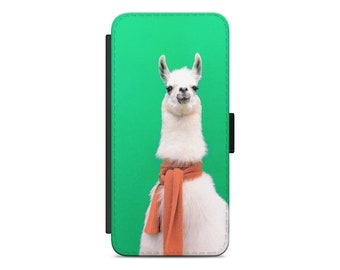 Llama scarf wallet iPhone case | Leather wallet phone case | Wallet Samsung case | iPhone X flip wallet case | 1MW200