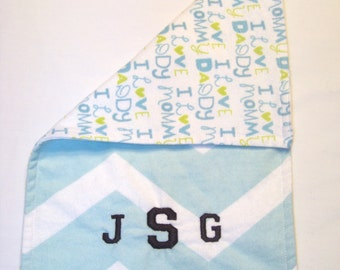 Personalized Burp Cloth, Monogrammed Burp Cloth, Reversible Burp Cloth, Baby Burp Cloth