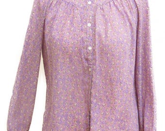 Long Sleeve Lilac Purple Small Collar Buttoned Bohemian Blouses Lilac Lili Vintage Top Shirt Blouses by Kirna