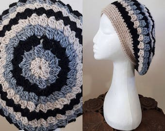 THE VINTAGE TAM Handmade 1940s Landgirl Boho Alpaca Wool Blend Crochet Knit Beret Hat Cream Black Grey