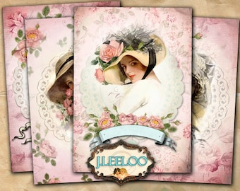 LADY - hang tags paper goods old photo aceo size  - digital collage sheet instant download printable background vintage - ac275