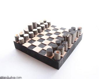 Minimalist, Modern Log Chess Set--Unique End-Grain Wooden Board Game Table Decor