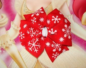 Snowflakes Large Pinwheel Hair Bow Christmas hair bow 4 inch hair bow