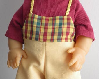 38 cm (ref 60) doll clothes: overalls + cotton shirt