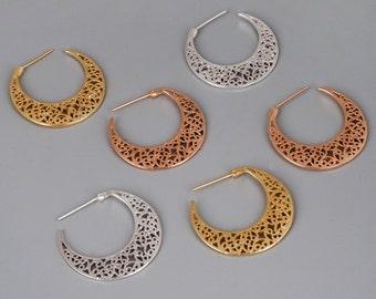 Silver Filigree Earrings, Filigree Hoop Earrings, Moroccan Earrings, Sterling Earrings, Boho Earrings, Wedding Earrings, Silver Lace Earring