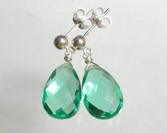 Green Drop Earrings Green Quartz Earring Green Briolette Earring Stud Post Earrings Sterling Silver
