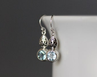 Blue Topaz Earrings - Blue Topaz and Silver - Bali Silver Earrings - Blue Gemstone Earrings - Wedding Jewelry - December Birthstone Jewelry