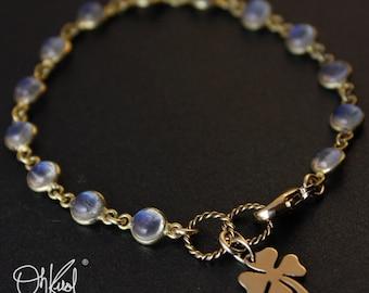 Gold Rainbow Moonstone Bracelet - June Birthstone Bracelet - Clover Charm