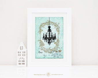 Chandelier French art print, silhouette vintage home decor on blue damask, A4 giclee