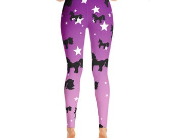 Unicorn Yoga Leggings, Funky Yoga Pants, Unique Women's Leggings, Purple Star Print Workout Pants, High Waisted