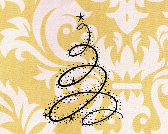 Swirly Christmas Tree Stamp: Wood Mounted Christmas Rubber Stamp