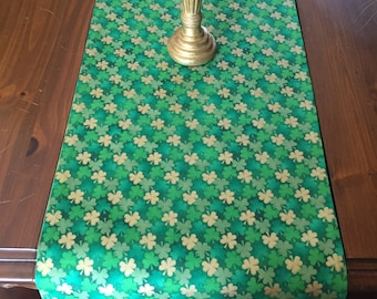 Handmade Shimmery Shamrock Table Runner, St. Patrick's Day Table Runner, Green Irish Table Runner, Three Leaf Clover Table Runner