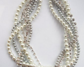 Bridal bridesmaids rhinestone braided twisted chunky statement pearl necklace