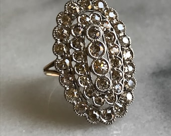 antique diamond shield ring | diamond cluster ring | antique diamond cobblestone ring | champagne diamonds
