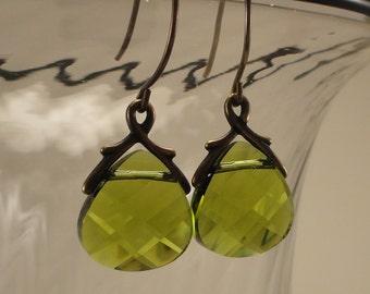 Olivine Swarovski Crystal and Brass Earrings