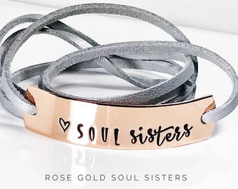 Soul Sister Gift | Gift for Sisters | My Soul Sister gift | Best friend gift | Gift ideas for Soul Sisters | Rose Gold wrap bracelet | WB010