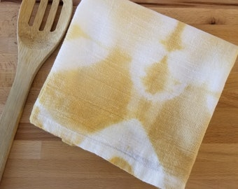 Flour sack towel, Hand dyed, Yellow Shibori, Flour Sack, Tea Towel, Dish Towel, Kitchen Towel,