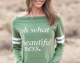 A Beautiful Mess. Wide Shouldered Sporty Long Sleeved Tee. Off the Shoulder Top. Quote Shirt. Women's Long Sleeve Tee. Firedaughter Clothing