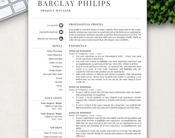 Professional Resume, Resume Template, Resume Template Instant Download, Resumes, Cover Letter + References Included, Mac + PC